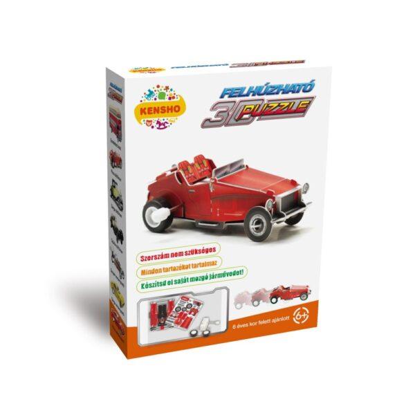 Felhúzható 3D puzzle - piros oldtimer