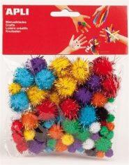Pom-pom, csillogó vegyes színekbe 78db/csomag