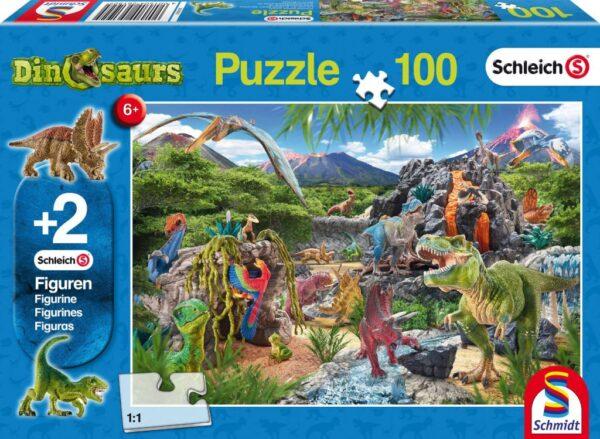 Schmidt Puzzle A dinoszauruszok birodalma 100 db 2 db Schleich figura