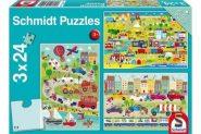 Schmidt Puzzle - A járművek színes világa, 3x24 db puzzle