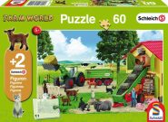 Schmidt Puzzle - Hay harvest on the farm, 60 db puzzle + 2 Schleich ajándék figura