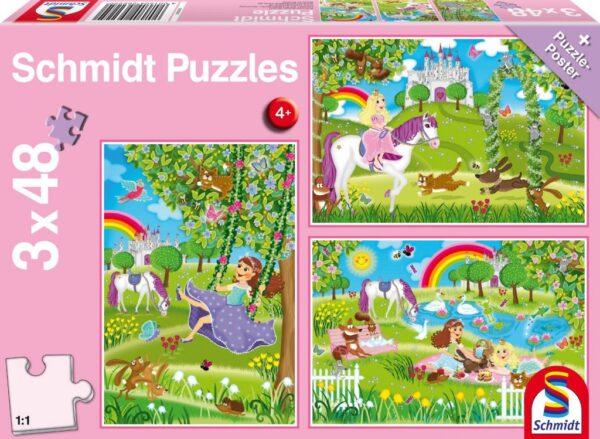 Schmidt Puzzle-Princess in the castle garden, 3x48 db puzzle