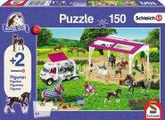 Schmidt Puzzle - Riding school and veterinarian, 150 db puzzle +2 Schleich ajándék figura