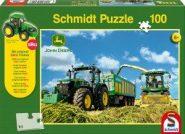 Schmidt Puzzle - Tractor 7310R, 8600i aratógéppek, 100 db puzzle + SIKU Traktor model