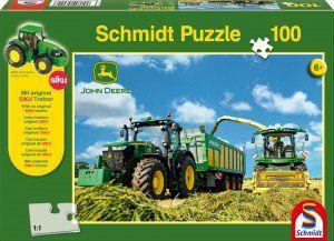 Schmidt Puzzle Tractor 7310R, 8600i aratógéppek, 100 db puzzle + SIKU Traktor model