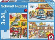 Schmidt Puzzle - Tűzoltók és rendőrök, 3x24 db puzzle