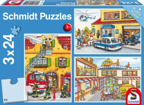 Schmidt Puzzle-Tűzoltók és rendőrök, 3x24 db puzzle