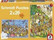 Schmidt Puzzle - Vikingek között, 2x26 db puzzle