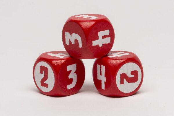 Dobókocka 2-3-3-4-4-4 piros