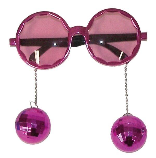 Party szemüveg disco gömbbel - rózsaszín