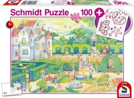 Schmidt Puzzle Élet a mesebeli hercegnőkkel 100db (ajándék gyöngy matricával)