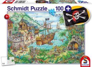 Schmidt Puzzle Kalóz öböl, 100 db (ajándék kalóz zászlóval)