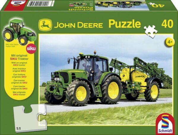 Schmidt Puzzle-John Deere Traktor 7530 tápanyagszóróval, 40 db-os + SIKU Traktor model