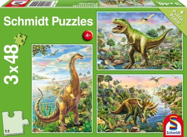 Schmidt Puzzle-Dinoszaurusz kalandok, 3x48 db