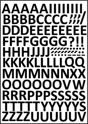 Öntapadós betűkészlet 15 mm