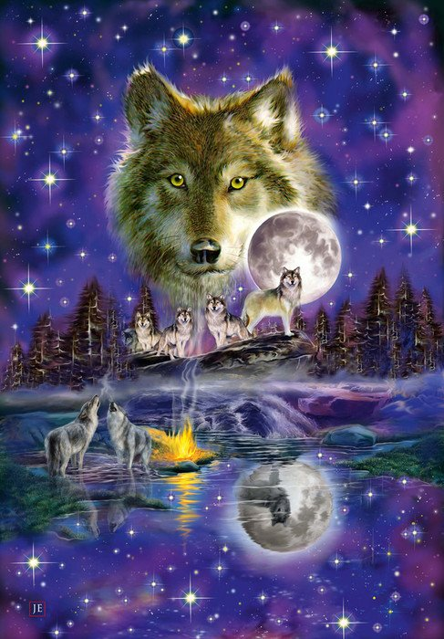 Schmidt Puzzle - Wolf in the moonlight, 1000 db