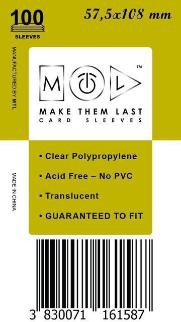 MTL 57,5x108 mm 100 db kártyavédő