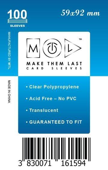 MTL 59x92 mm 100 db kártyavédő Prémium