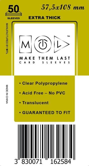 MTL 57,5x108 mm 50 db kártyavédő Prémium