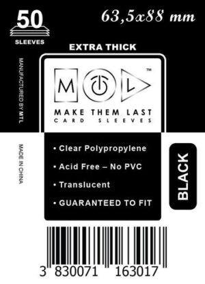 MTL 63,5x88 mm 50 db kártyavédő Prémium Fekete hátlappal