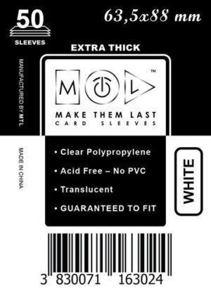 MTL 63,5x88 mm 50 db kártyavédő Prémium Fehér hátlappal