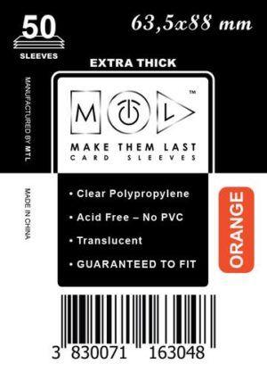 MTL 63,5x88 mm 50 db kártyavédő Prémium Narancs hátlappal