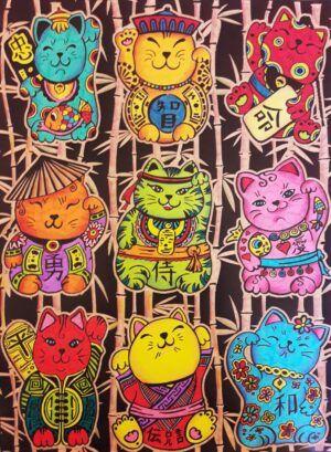 Colorvelvet Bársonykép 47x35 cm Kínai szerencse cica